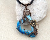 Blue Druzy necklace/Wire wrapped pendant/Wire wrapped druzy pendant/ooak/Gemstone necklace/Gift for her/gift for girlfriend/Spring gift