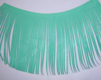 mint green real leather fringe , leather fringes , light green leather , art deco print long leather fringes 12 x 7 inches