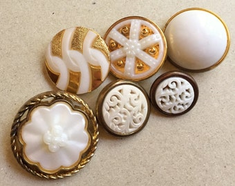 recycled vintage gold tone and white plastic shank buttons--mixed lot of 6