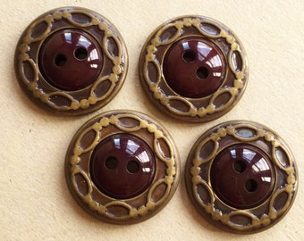 vintage eco friendly beautiful brown buttons with brass tone metal decorative rims--matching lot of 4