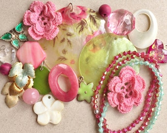 romantic cottage chic eco friendly spring white green and pink craft lot ash for diy jewelry and assemblages--mixed lot of 20 items