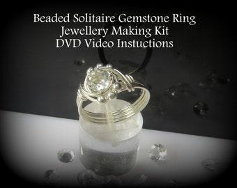 Beaded Solitaire Gemstone Ring - DVD & Materials Jewellery Making Kit