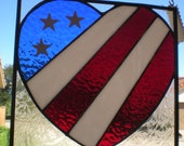 Heart-Shaped Stained Glass Panel in Patriotic Colors