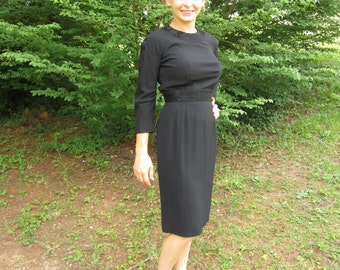 Vintage 1950's Black Beaded Wiggle Dress 50's Little Black Dress
