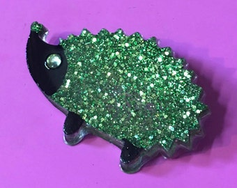 Glitter Hedgehog Brooch and Charm