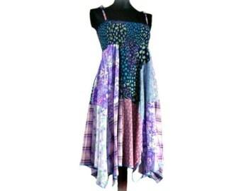 Boho Sundress, Festival Sun Dress, Upcycled Clothing, Bandana Dress, Handmade Sundress, Beach Dress, OOAK  Hippie Dress, SALE- 25% Off