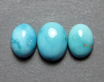 Ajax Mine Natural Turquoise Cabochons from Nevada, 4.40 cttw.