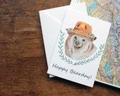 Bear Birthday Card - Animal Birthday Card - Printed Card