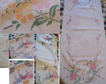 Three different vintage embroidered table runners 11.00 each
