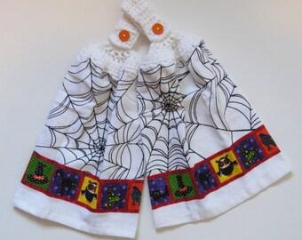 Spider Web Crochet Top Kitchen Hand Towel Set of 2