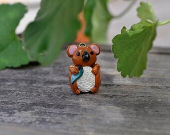 CHARM - Miniature Koala Bear Polymer Clay, Necklace, Bracelet, Decoration