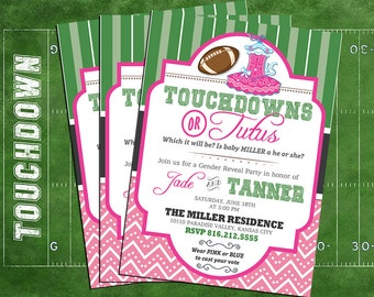 touchdowns or tutus invitation, touchdowns or tutus gender reveal party, baby shower, tutus or touchdowns invitation, gender reveal invite