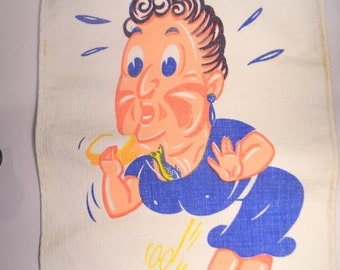 50s Baby Bib, Funny Woman With A Slippery Fish, Bright Blue and Peach