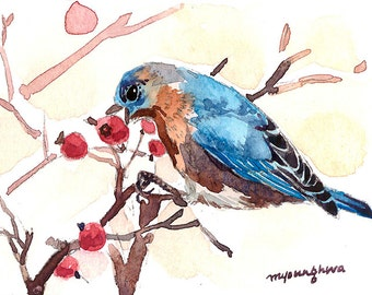 ACEO Limited Edition 1/25- Bluebird picking a berry, Art print of a watercolor original painting by Anna Lee, Gift idea for bird lovers