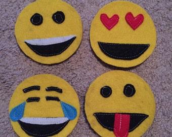 Emoji felt coasters