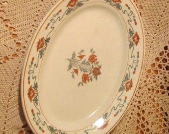 Vintage Orange Floral Restaurant Ware Platter