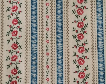 Cotton Fabric / Blue Ticking / Ticking Cotton Fabric / Blue Floral Fabric / Pink Floral Ticking / Blue and Pink Ticking / 3 and 1/3 Yard