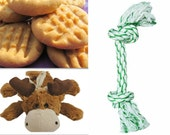 Dog Luxury Package - Grain Free Peanut Butter Cookies, Dental Chew Rope and Soft Moose Toy