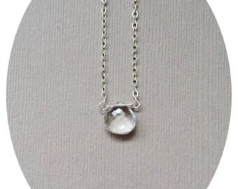 Crystal Quartz Fertility Necklace, Fertility Gift, Cleansing Gemstone Necklace, Infertility Gift, Rock Crystal Jewelry, Natural Quartz
