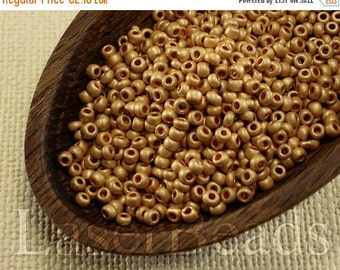 ON SALE 20% OFF Size 9 seed beads. Czech rocailles 20g. Frosted Gold Opaque. 37 Met