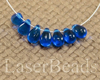 Teardrop beads 30pc 9mm Blue tear drops Czech glass teardrop beads Cobalt blue beads Tear drop beads Blue teardrops Small top drilled last