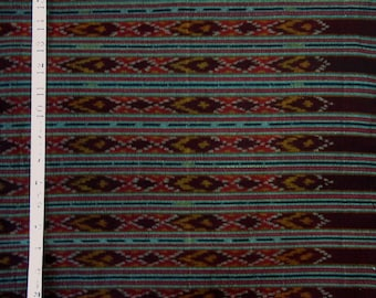 """Thai cotton ikat fabric - Dark red and earth tones -  35 """" wide x 2 yds."""