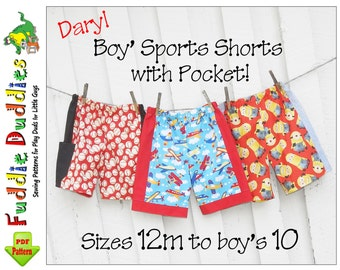 Easy Boy's Shorts Pattern. Boy's Sewing Pattern. Toddler Sewing Pattern. Toddler Shorts Pattern. pdf Sewing Pattern. Instant Download. Daryl