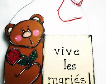 Wedding door sign with brown teddy bear - Teddy bear door hanger - Teddy bear door sign