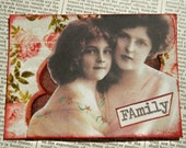 """SALE ACEO ATC one-of-a-kind collage and ink """"Family"""""""