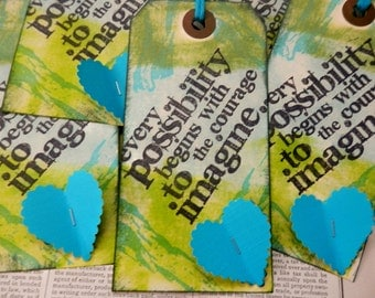 "LARGE TAGS 3 - Collage and Ink - ""Every Possibility Begins with the Courage to Imagine"" - Painterly Background with Hearts"