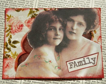 "SALE ACEO ATC one-of-a-kind collage and ink ""Family"""