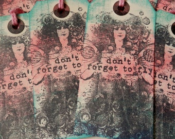 "LARGE TAGS 3 - ""Don't Forget to FLY""  Pink Aqua Blue Black"