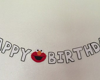 Elmo Happy Birthday banner,   Elmo banner,  Sesame street banner, Birthday banner