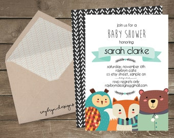 Autumn Woodland Baby Shower Invite | Gender Neutral | Orange, teal, White & Grey | Printable file