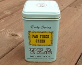 Early Spring Pan Fired Green Vintage 4 oz. Tea Tin by John Wagner & Sons in Robins Egg Blue