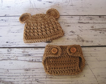 Baby Bear Hat and Diaper Cover Outfit, Newborn Bear Hat ,Berar Hat in Pink,Light Blue ,Ivory ,Grey , Brown or Mauve