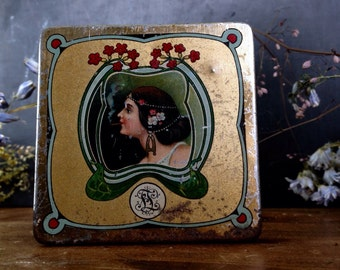 Antique Tobacco Tin Metal Box with woman