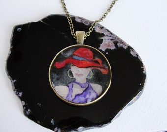 """Woman in a hat"""" Art Hand-painted watercolors resin Pedant Necklace"""