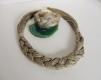 "Organic SET - Natural   Linen   ""Necklace + Bracelet"""