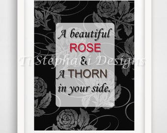 Rose & Thorn Print, Printable, Easy Prints, Downloadable Art, Wall Art, Wall Decor, Office Decor, Instant Downloads