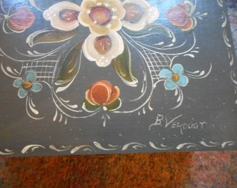 Box, Vintage, Tole Painted, Rosemaling, Wood, Flowers, Blue Grey, Handpainted, Country, Cottage Chic, Folk, German Style, Rose, Blue, Pink