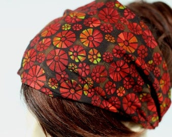 Stained Glass Floral Print Headband Womens Headband Fabric Headband Bandana Headband Head Wrap Hair Accessory Womens Gift for Her Gift Ideas