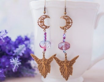 Moon Fairy Brass Earrings Purple Violet Amethyst