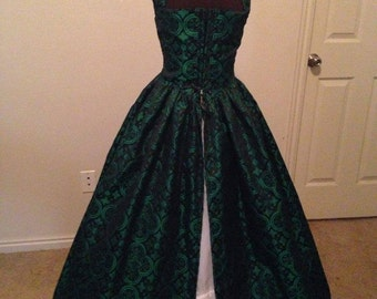 Renaissance Celtic Brocade Over dress without sleeves purple, green, red, or royal