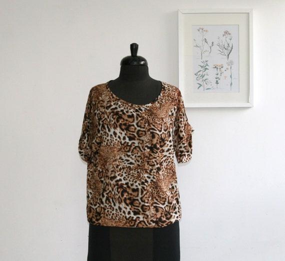 Vintage leopard top/ summer shirt/ women blouse