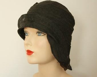 1920s hat   vintage 20s black cloche