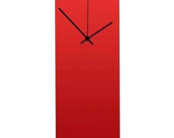 Redout Black Clock | Modern Metal Wall Clock, Minimalist Red & Black