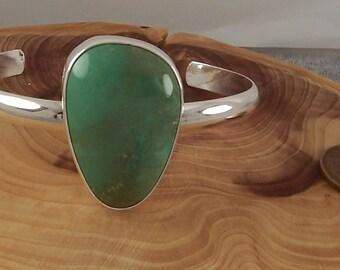 Natural Nevada Variscite and Sterling Silver Bracelet