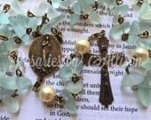 Aquamarine cultured sea glass and cream Swarovski crystal pearl rosary with true bronze Stella Maris Star of the Sea center