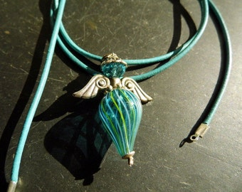Necklace, pendant, Angel, wings, glass, blue, jewelry, protection